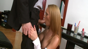 Real fucking along with big boobs Karine Muller in office
