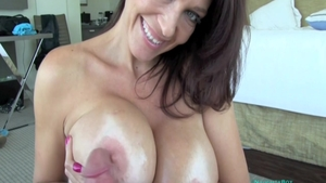 Handjob scene accompanied by busty first time Charlee Chase
