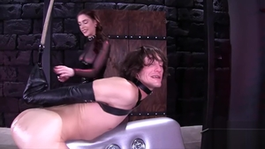 Butt fucking along with mistress wearing catsuit HD