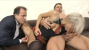 Blonde babe in stockings loves fucked by George Uhl