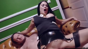 Shaved Samantha Bentley riding huge dick at the party