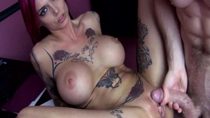Large tits Anna Bell and Anna Bell Peaks dick sucking