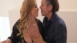 Blonde hair Eva Notty bends to get fucked sex video