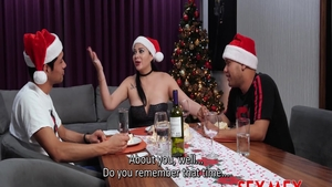 Mature Pamela Rios in glasses rough threesome on Christmas