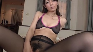Asian maid craving getting a facial in tights HD