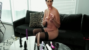 Solo shaved and kinky Casca Akashova in sexy lingerie sex toys