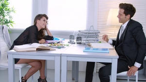 Tattooed reality stroking cowgirl sex in office in HD