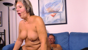 Young and huge boobs MILF cock sucking