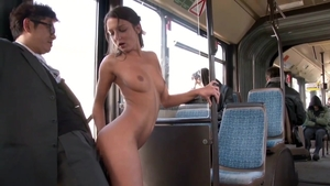 Creampie in the bus next to yummy brunette Foxy Di
