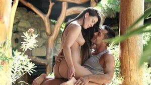 Young and beautiful Athina Love cumshot outdoors