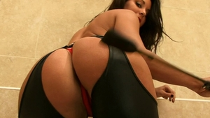 Perfect body girl Tiffany Chambers in catsuit erotic teasing