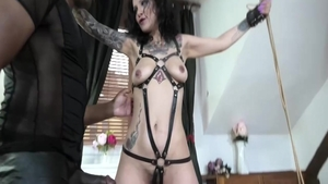 Tied up escorted by passionate european babe
