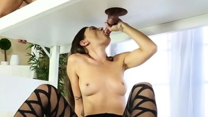 Brunette has a passion for rough fucking on the table