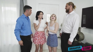 Blonde babe Aria Banks group sex