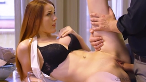 Big boobs brunette Charlie Red bends to get fucked HD