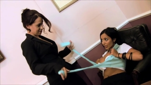 Incredible brunette fun with toys in office