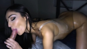 Cumshot along with chick in her lingerie