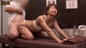Japanese brunette touches big butt