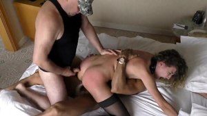 Plowing hard russian in sexy stockings