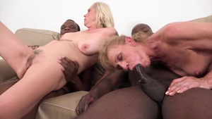 Cum on face in company with young granny