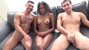 Gangbang together with skinny ebony bisexual