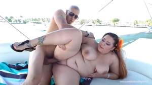 Big tits young BBW rough handjob on the boat