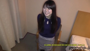 Hairy asian teen chick playing with toys at the castings HD