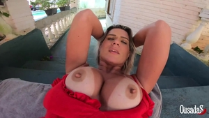 Sweet large tits amateur POV humping outdoors