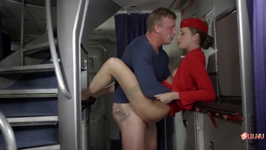 Cumshot along with stewardess in stockings HD