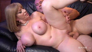 Huge tits and super sexy Sara Jay blowjob during interview