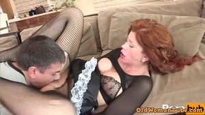 Cock sucking accompanied by big butt MILF wearing uniform