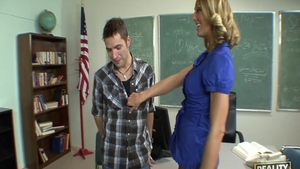 Blonde haired Brenda James first time kissing