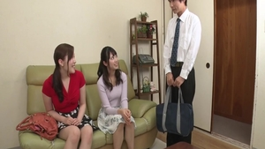 Passionate young japanese MILF threesome