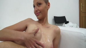 Sweet czech babe riding a dick at casting