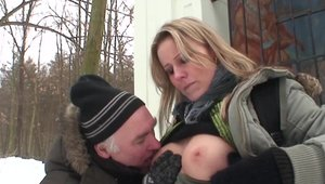 Blonde haired Julia Ann homemade rides a hard dick outdoors