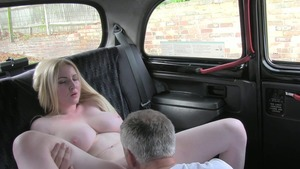 Too cute blonde babe in lingerie blowjob in the taxi
